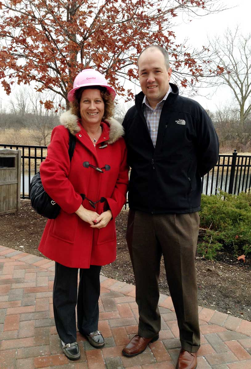 Wearing my pink hard-hat, courtesy of Darren Boundy and ComEd.