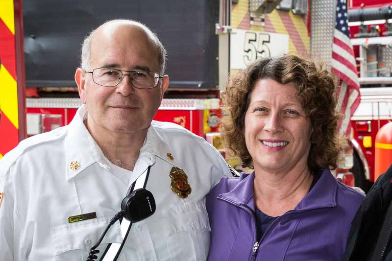 Visiting with Fire Chief Robert Turpel during the Open House.