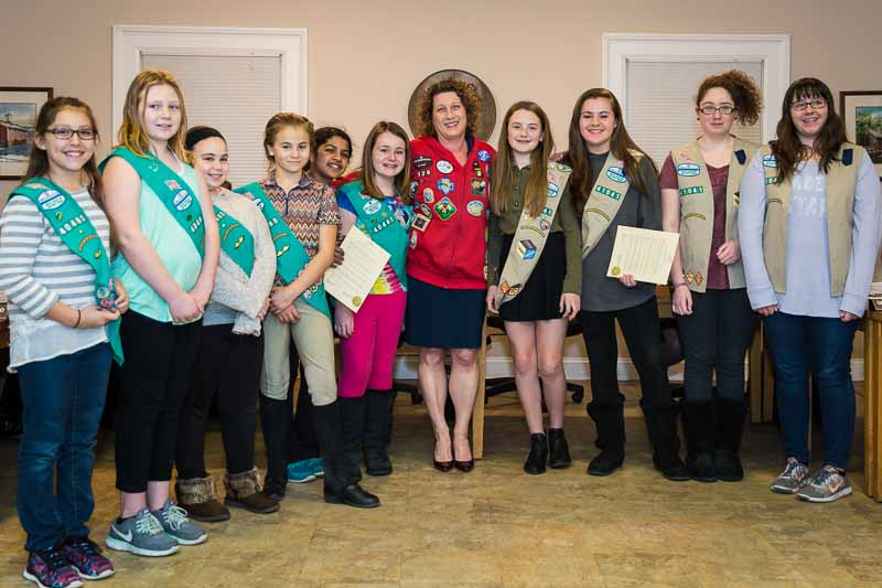 Junior and Cadette Girl Scouts helping me proclaim National Girl Scout Week in Long Grove on March 8th, 2016.