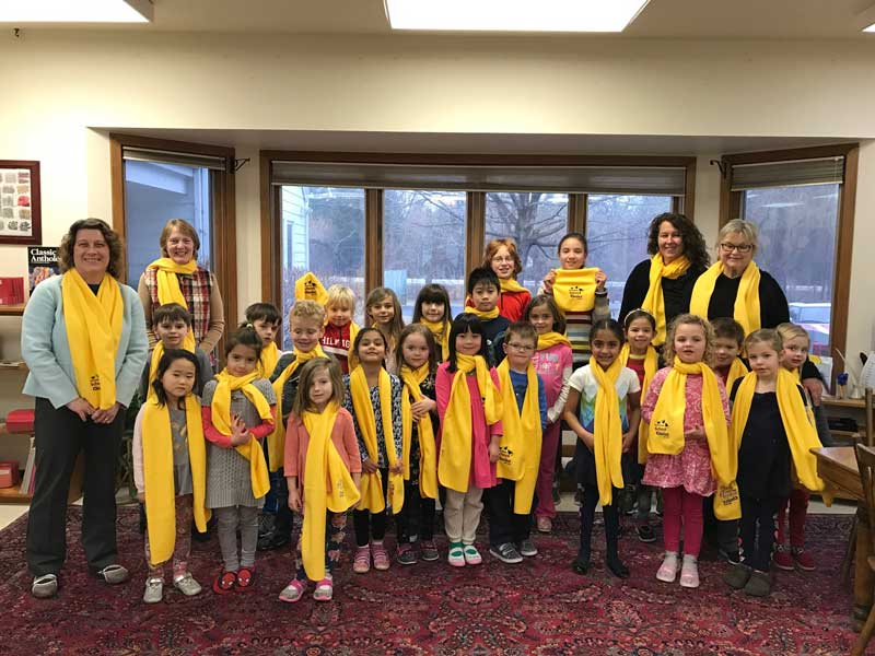 Having fun with the students and teachers of the Montessori School of Long Grove on January 25, 2017.