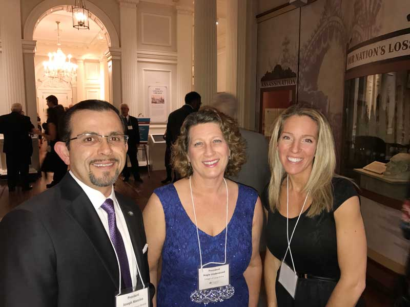 Celebrating at the Metropolitan Mayors Caucus Gala on January 27, 2017 with Joe Mancino, Mayor of Hawthorn Woods on my left, and Mandi Florip, Executive Director of the Lake County Municipal League.