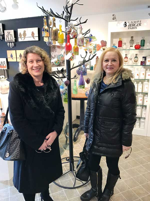 After lunch we worked off the calories shopping at some of our newer stores. We are pictured here at Epilogue, checking out the beautiful artistic gifts and jewelry.