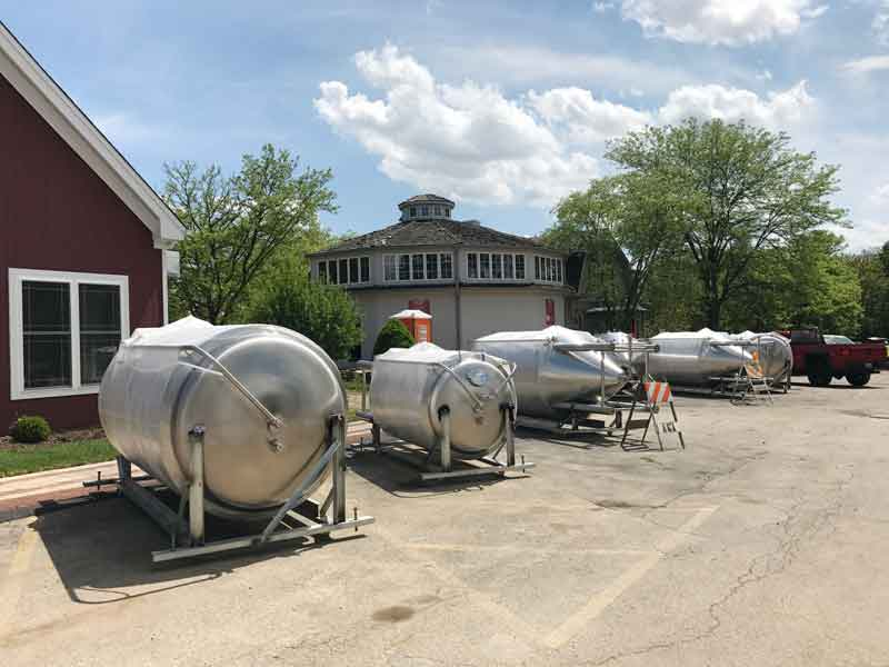Brewing equipment and beer storage tanks ready for installation this week at Buffalo Creek Brewery.