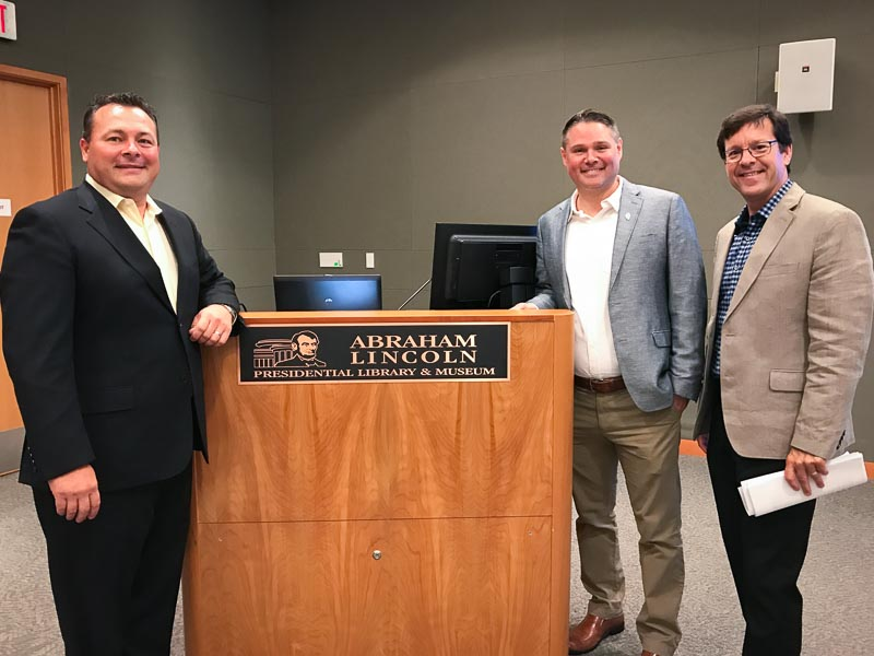 R to L: Historic Downtown Long Grove President Ryan Messner, Andrew Heckenkamp from Illinois Historic Preservation Agency and Aaron Underwood, from the Long Grove Historical Society worked together today to advocate for placing the covered bridge on the National Register of Historic Places.