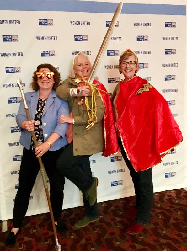"Wonder Woman is the inspirational ""mascot"" of Women United. Three members of the Steering Committee had fun channeling her power at the recent Leadership Summit in Cincinnati last month."