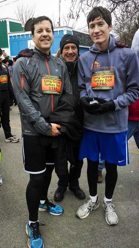 Pictured (L to R) are my husband Aaron, father-in-law Joe, and son Alex at the 2013 Turkey Trot.