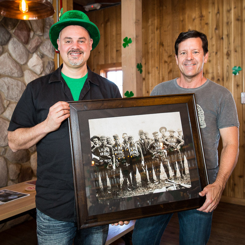 Celebrating St. Patrick's Day at Buffalo Creek Brewing with owner Mike Marr (left) and local historian Aaron Underwood.