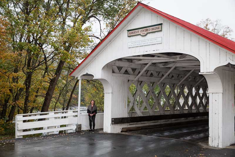 Visiting the Ashuelot, New Hampshire covered bridge on October 15, 2018.