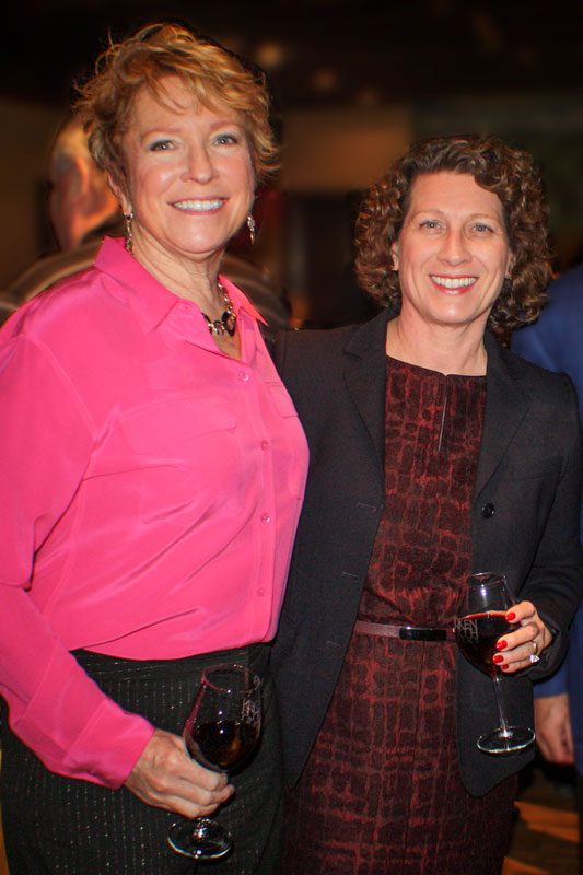 Sharing a glass of wine with Past Village President Maria Rodriguez
