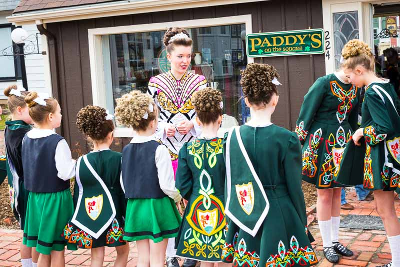 Members of the McNulty Irish Dancers get ready to perform today at Paddy's on the Square.