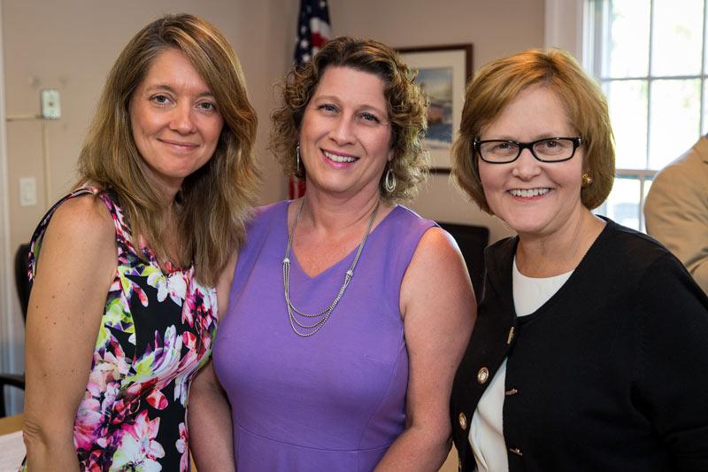 (L to R) New Village Clerk Amy Gayton, Village President Angie Underwood, retiring Village Clerk Heidi Locker-Scheer.