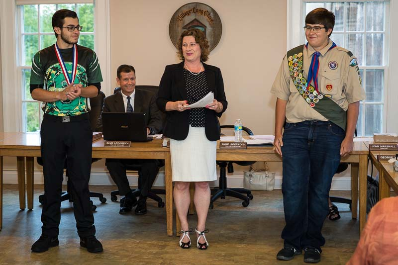 Honoring students at our August 9th Village Board Meeting: (L to R) Ted Tapas, Stevenson High School State  Championship Men's Bowling Team Captain, Dave Lothspeich, Village Manager, Angie Underwood, Eagle Scout William Jacob.