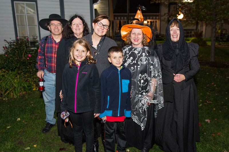 Attending the 2016 Ghost Walk are Long Grove residents (L to R): Doug and Jane Primack, Ellie, Jennifer and Collin Russell, Angie Underwood and Georgia Cawley.