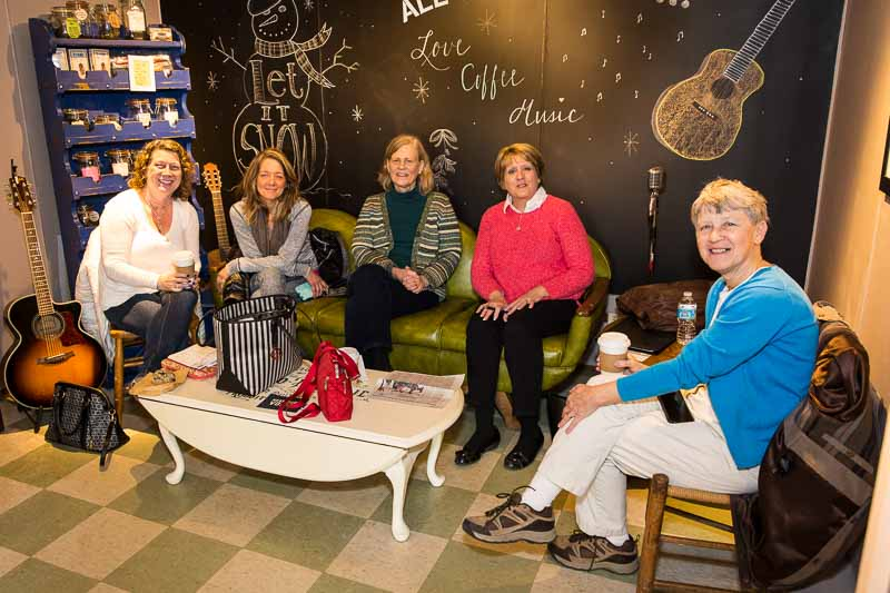 Heeding the feminist rally cry at Beans & Leaves Coffee (L to R): Angie Underwood, Amy Gayton, Diane Trickey, Myra Buettner, and Marie Roth.