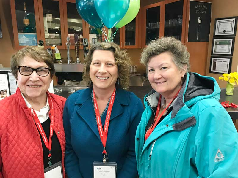 """Attending the 2017 Lake County """"Champions for Meals"""" event on Monday, March 20th with (L) Millie Hall, MOW Volunteer from Lake Forest, Angie Underwood, Long Grove Village President, and (R)   Diana O'Kelly, Fremont Township Supervisor."""