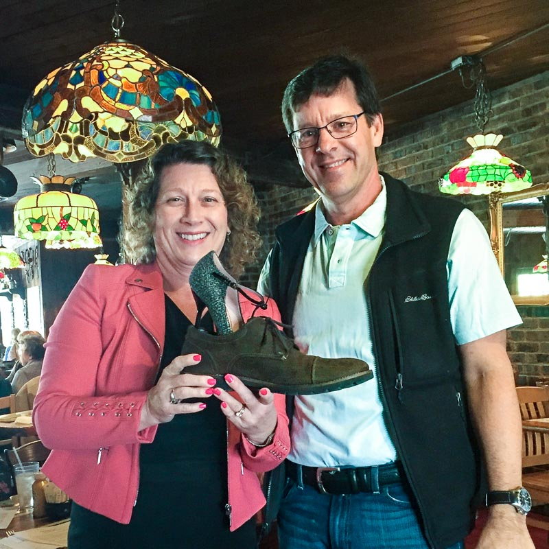 Incoming Long Grove Historical Society President Angie Underwood pokes fun at outgoing Historical Society President (and spouse) Aaron Underwood.