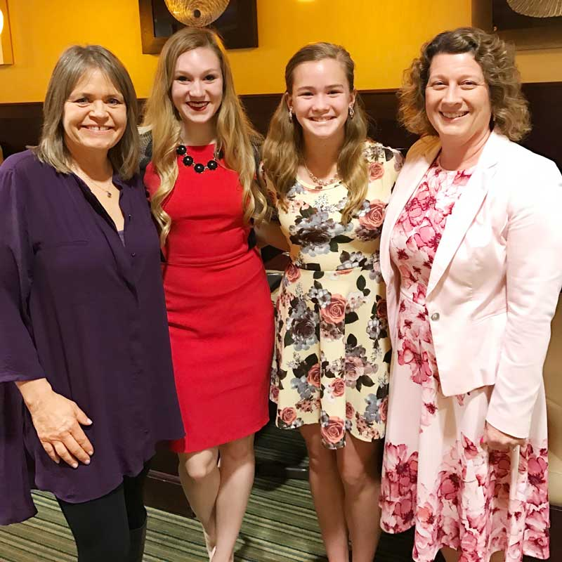 Current elected officials with future elected officials at the April 15th WINGS meeting:  (L to R) Cheri Neal, Zion Township Supervisor, Teagan (our scholarship winner), Brighton (Teagan's sister) and Angie Underwood, Long Grove Village President.