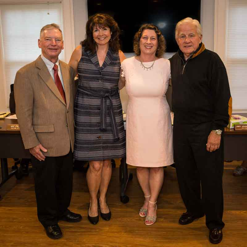 Retiring Village Board members on April 25th: (L to R) George Yeager, Lori Lyman, Angie Underwood and John Marshall.