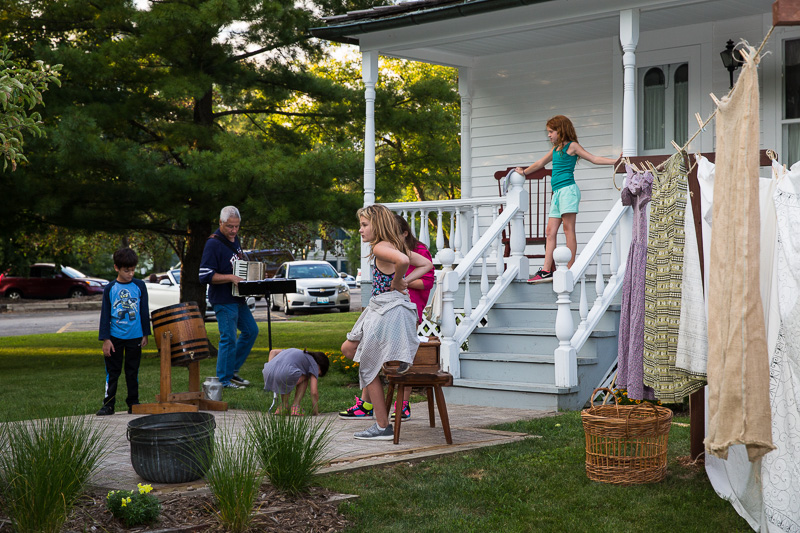"""The back porch of our Historical Society farmhouse will serve as a stage for the upcoming production of """"Polly Pureheart Prevails."""""""