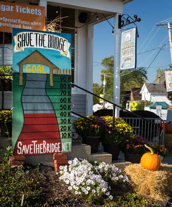 Fundraising efforts to support saving the covered bridge now exceed $50,000 in donations and pledges.
