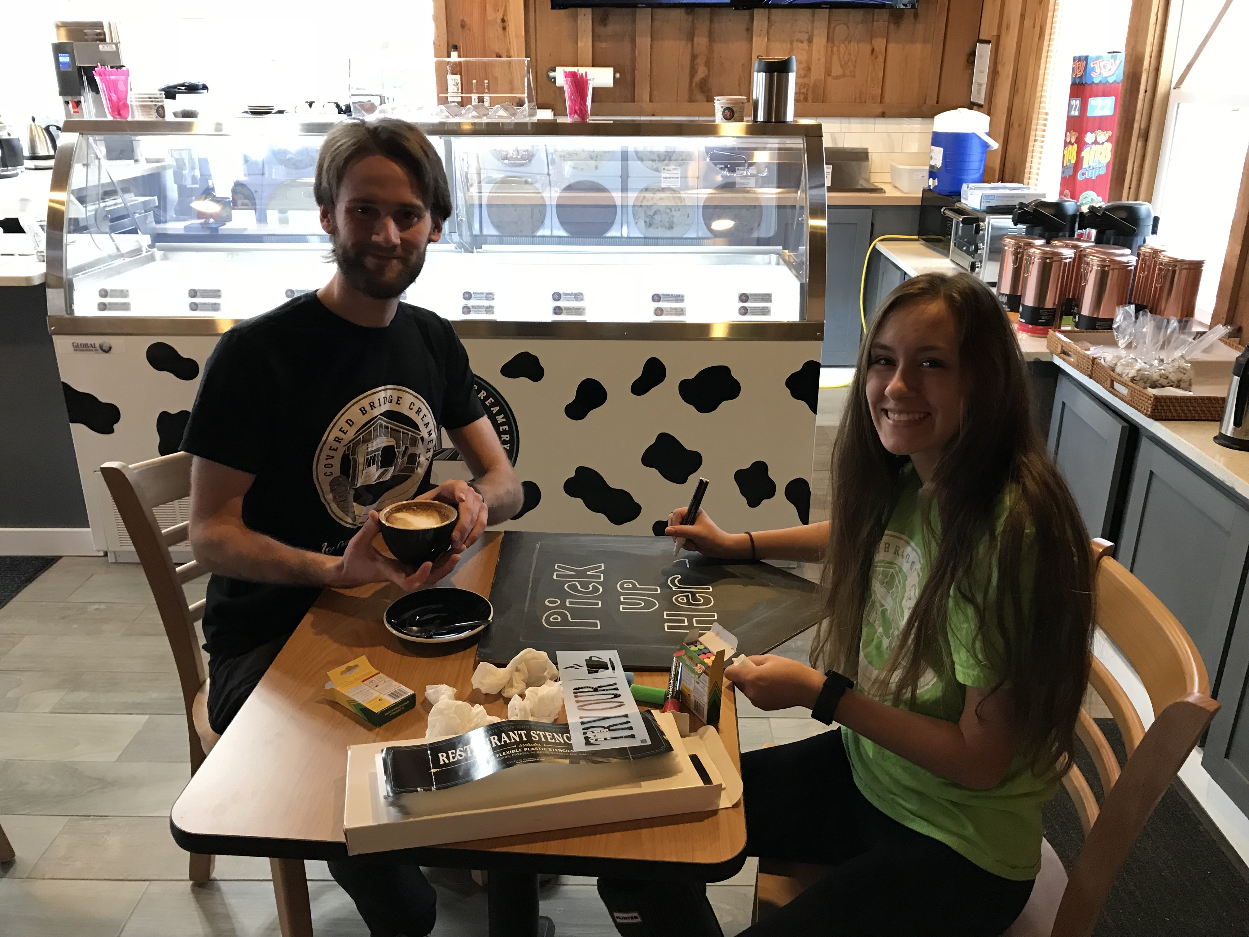 Manager Nicholas Modlin and crew member Rachel Temple are two of several friendly faces  waiting to greet you at Covered Bridge Creamery.