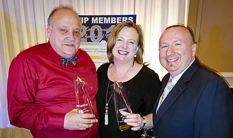Left to Right: Citizen of the Year John Kopecky celebrates with fellow award winners Jenny and Rich Wierzchon of Primrose School of Long Grove, Best New Business.