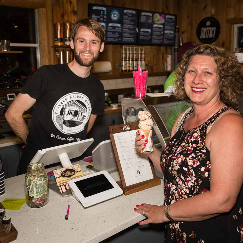 """Enjoying one of my favorite flavors at Covered Bridge Creamery, """"Exhausted Parent."""""""
