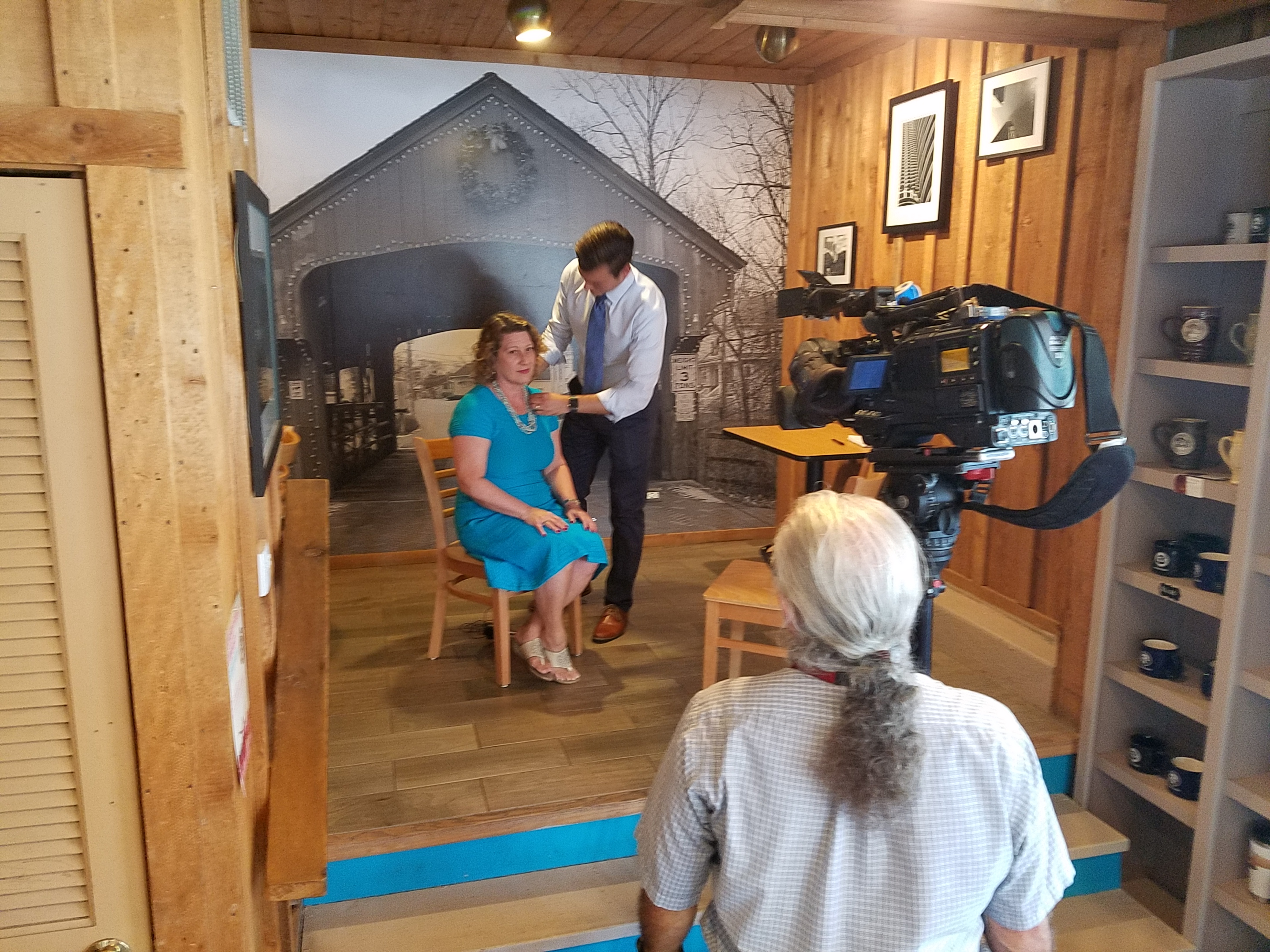 Lining up the camera shot and getting miked for my interview with ABC Channel 7's Mark Rivera inside the Covered Bridge Creamery.